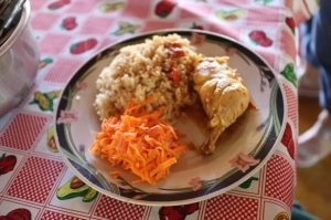 Plate of rice, chicken and beef, and shredded carrot