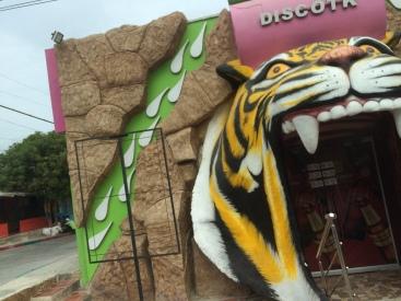 A disco shaped like a tiger