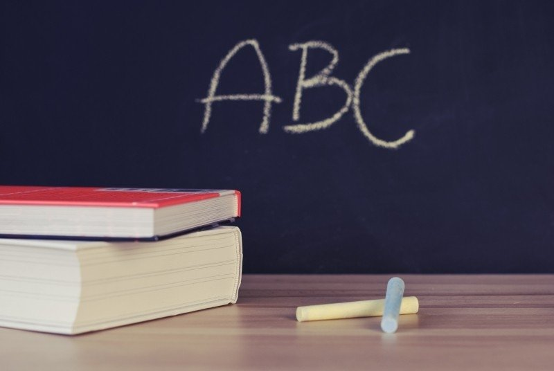 Chalkboard with the letters ABC written on it